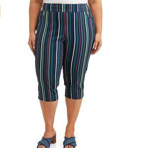 Womens Terra & Sky Striped Capri Pants Sz 1X NWT